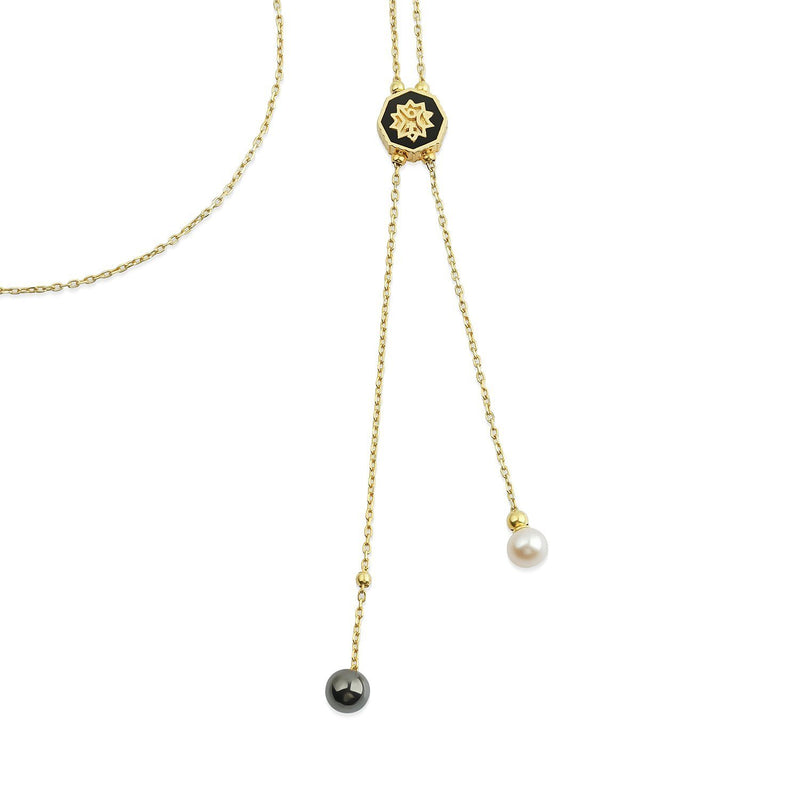 Adel Pearl Necklace Gold Kolye Luna Merdin - Strivezy