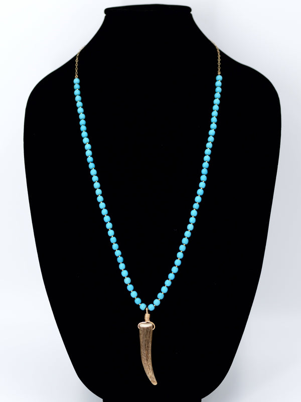 Blue Jade Antler Tip Necklace Maria Kamara Designs - Strivezy