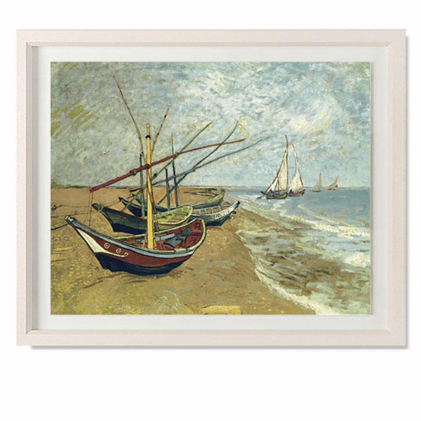 "Boats Saintes-Maries Smith & Co Galleries 28"" x 23"" Cream 5mm Luxe Floated - Strivezy"