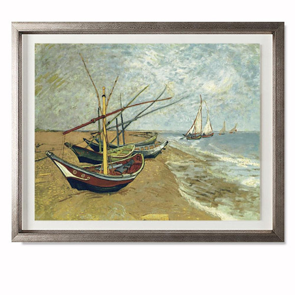 "Boats Saintes-Maries Smith & Co Galleries 28"" x 23"" Warm Silver 5mm Luxe Floated - Strivezy"