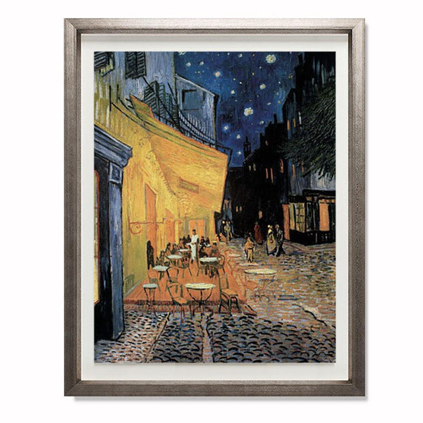 "Cafe Terrace at Night Smith & Co Galleries 23"" x 28"" Warm Silver 5mm Luxe Floated - Strivezy"