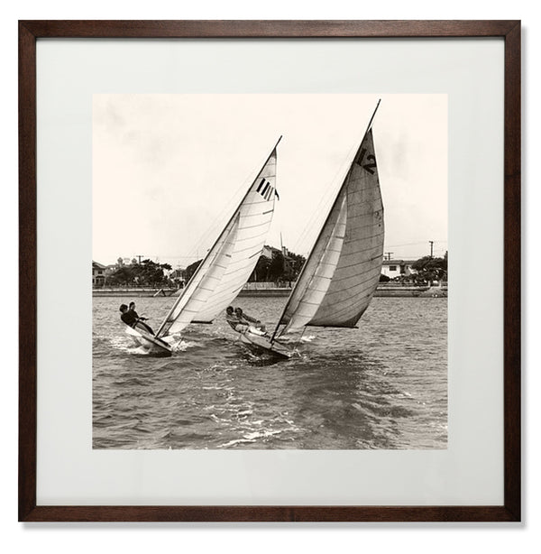 "Close Dinghy Racing Smith & Co Galleries 24"" x 24"" Modern Wood 5mm Luxe Floated - Strivezy"