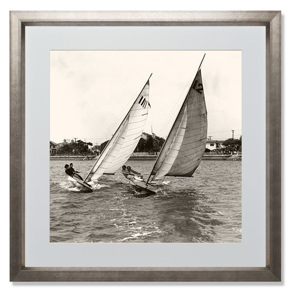 "Close Dinghy Racing Smith & Co Galleries 24"" x 24"" Warm Silver 5mm Luxe Floated - Strivezy"