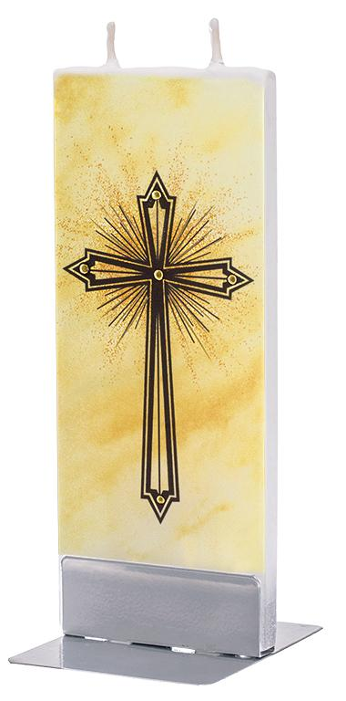 Cross on Yellow Ground Flat Candle Flat Candle Flatyz - Strivezy