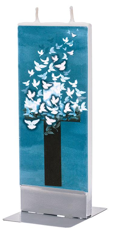 Cross with Flying Doves Flat Candle Flat Candle Flatyz - Strivezy