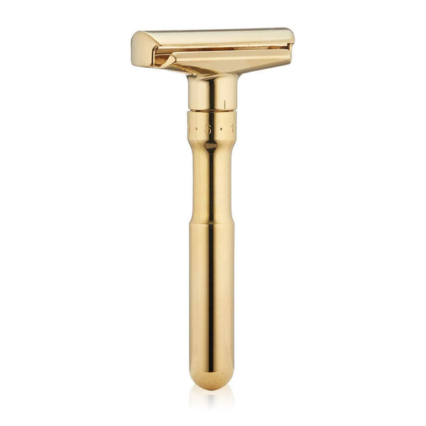 Futur Double Edge Safety Razor – Polished Gold Adjustable Merkur Solingen - Strivezy