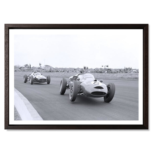 "Graham Hill In Pursuit, Silverstone Smith & Co Galleries 24"" x 18"" Modern Wood 5mm Luxe Floated - Strivezy"