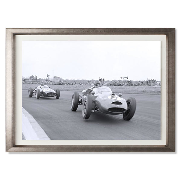 "Graham Hill In Pursuit, Silverstone Smith & Co Galleries 24"" x 18"" Warm Silver 5mm Luxe Floated - Strivezy"