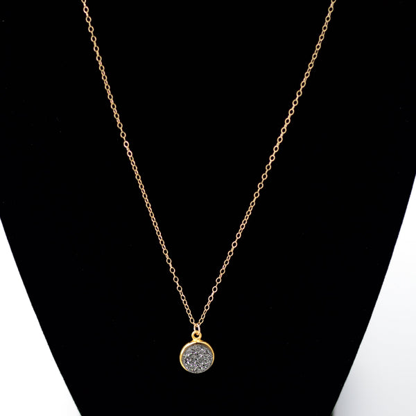 Gray Druzy Necklace in Gold Maria Kamara Designs - Strivezy
