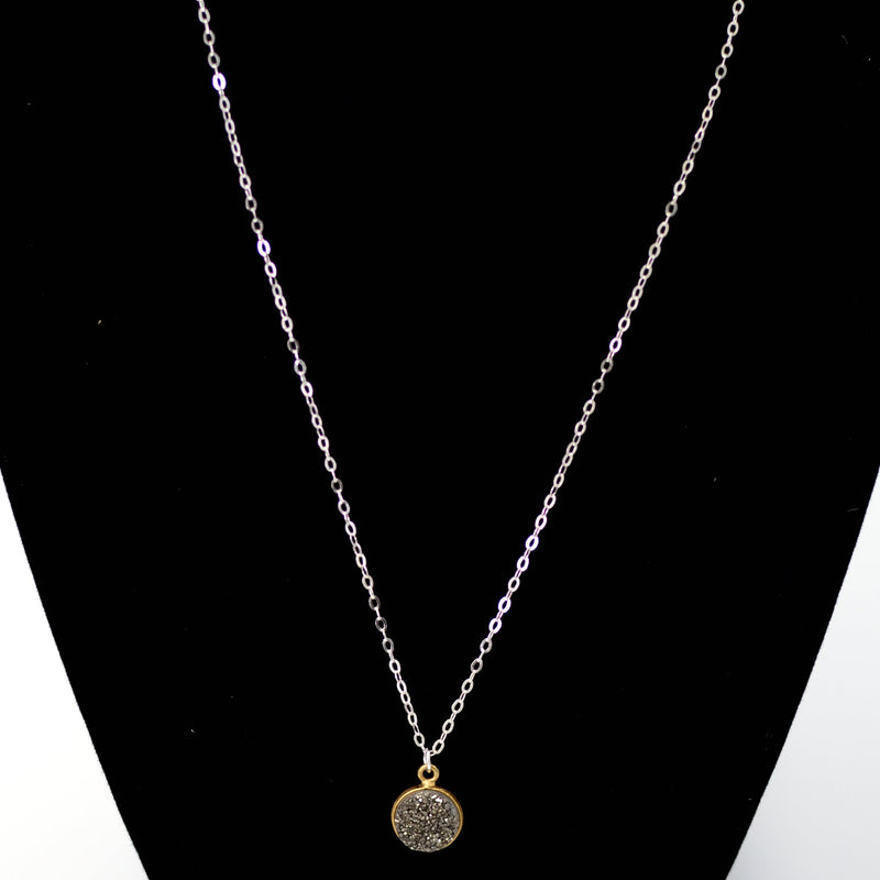 Gray Druzy Necklace in Gold with Sterling Chain Maria Kamara Designs - Strivezy