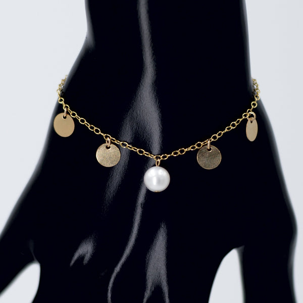 Hailee Bracelet in Gold with White Pearl Maria Kamara Designs - Strivezy
