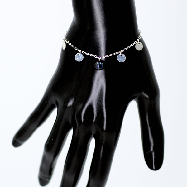 Hailee Bracelet in Sterling Silver with Black Pearl Maria Kamara Designs - Strivezy