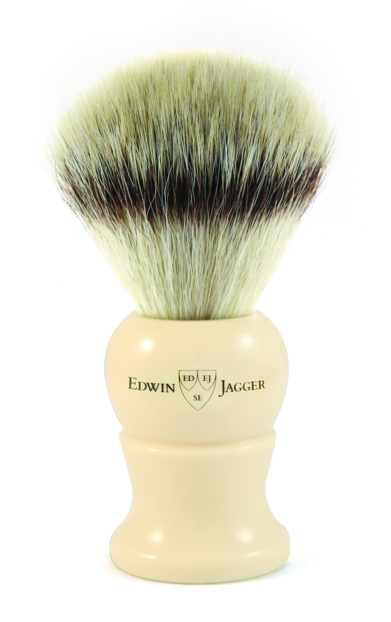 Edwin Jagger | Imitation Ivory Shaving Brush (Synthetic Silver Tip)