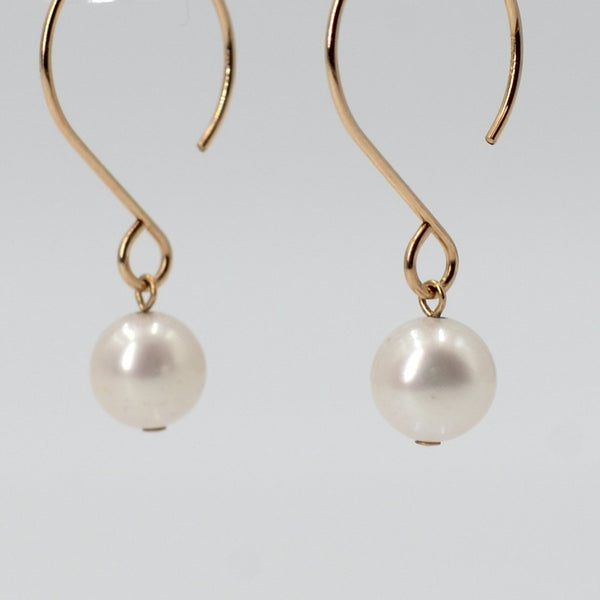 Lena White Pearl Earring in Gold Maria Kamara Designs - Strivezy