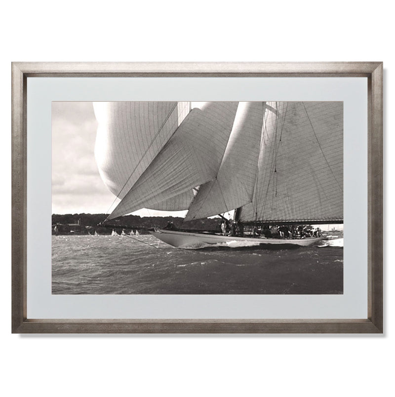 "Ocean Racing I Smith & Co Galleries 24"" x 18"" Warm Silver 5mm Luxe Floated - Strivezy"