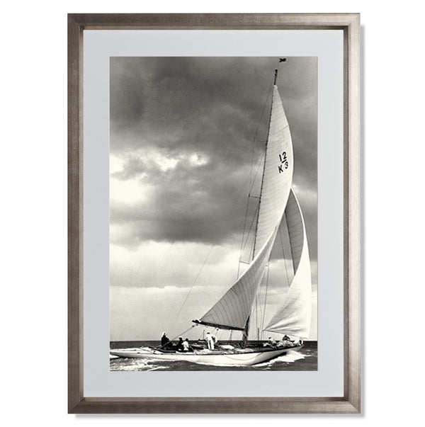 "Ocean Yacht Racing I Smith & Co Galleries 16"" x 24"" Warm Silver 5mm Luxe Floated - Strivezy"