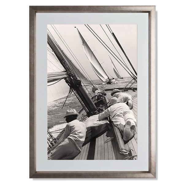 "Ocean Yacht Racing II Smith & Co Galleries 18"" x 24"" Warm Silver 5mm Luxe Floated - Strivezy"
