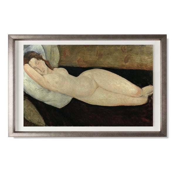 "Reclining Nude, 1919 Smith & Co Galleries 20"" x 14"" Warm Silver 5mm Luxe Floated - Strivezy"