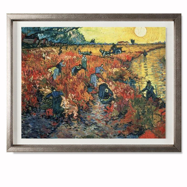 "Red Vineyards at Arles, 1888 Smith & Co Galleries 28"" x 23"" Warm Silver 5mm Luxe Floated - Strivezy"