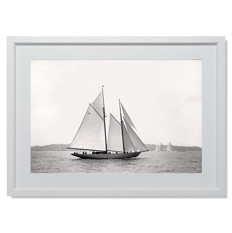 "Sailing Off Cowes I Smith & Co Galleries 24"" x 18"" White 5mm Luxe Floated - Strivezy"