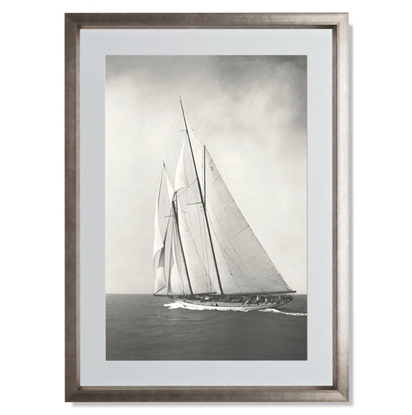 "Sailing Off Cowes II Smith & Co Galleries 18"" x 24"" Warm Silver 5mm Luxe Floated - Strivezy"