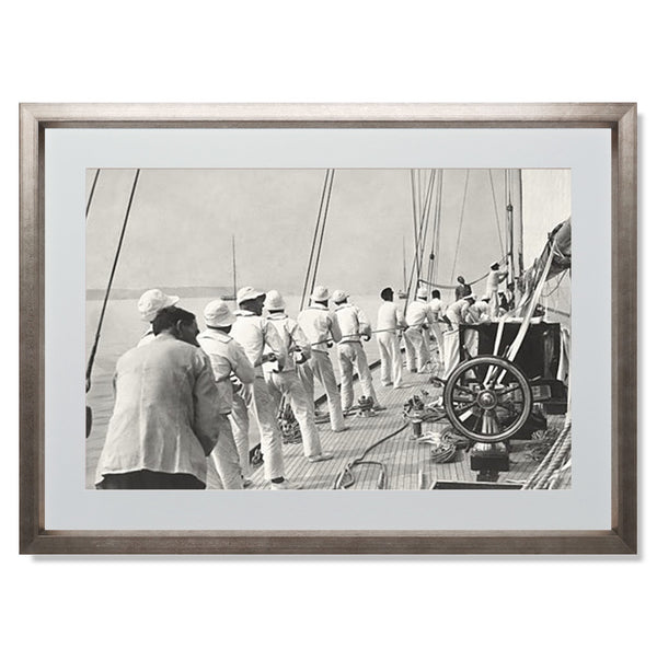 "Sailing Teamwork Smith & Co Galleries 24"" x 18"" Warm Silver 5mm Luxe Floated - Strivezy"