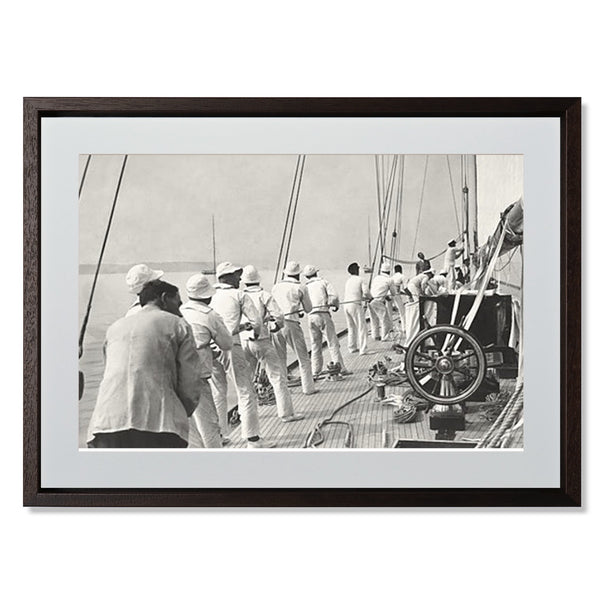"Sailing Teamwork Smith & Co Galleries 32"" x 24"" Modern Wood 5mm Luxe Floated - Strivezy"