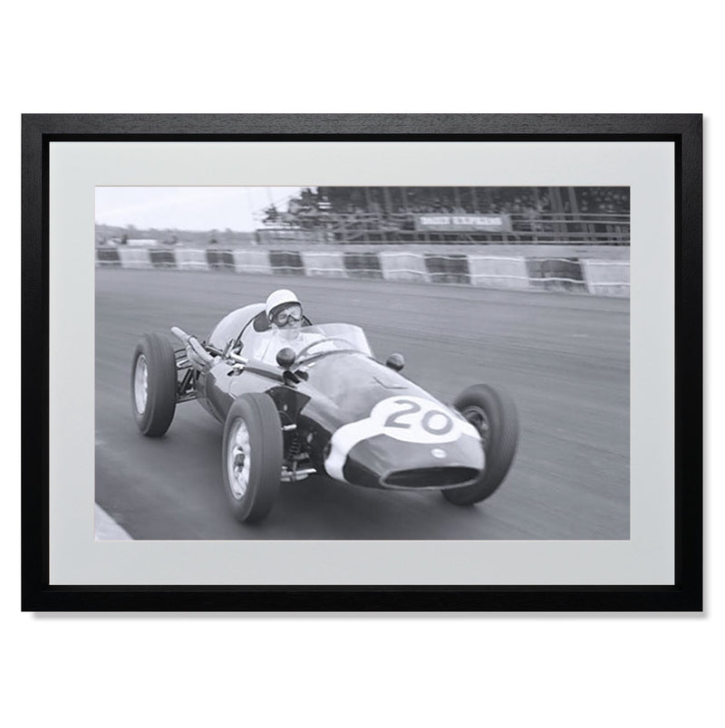 "Stirling Moss cornering Silverstone Smith & Co Galleries 24"" x 18"" Black 5mm Luxe Floated - Strivezy"