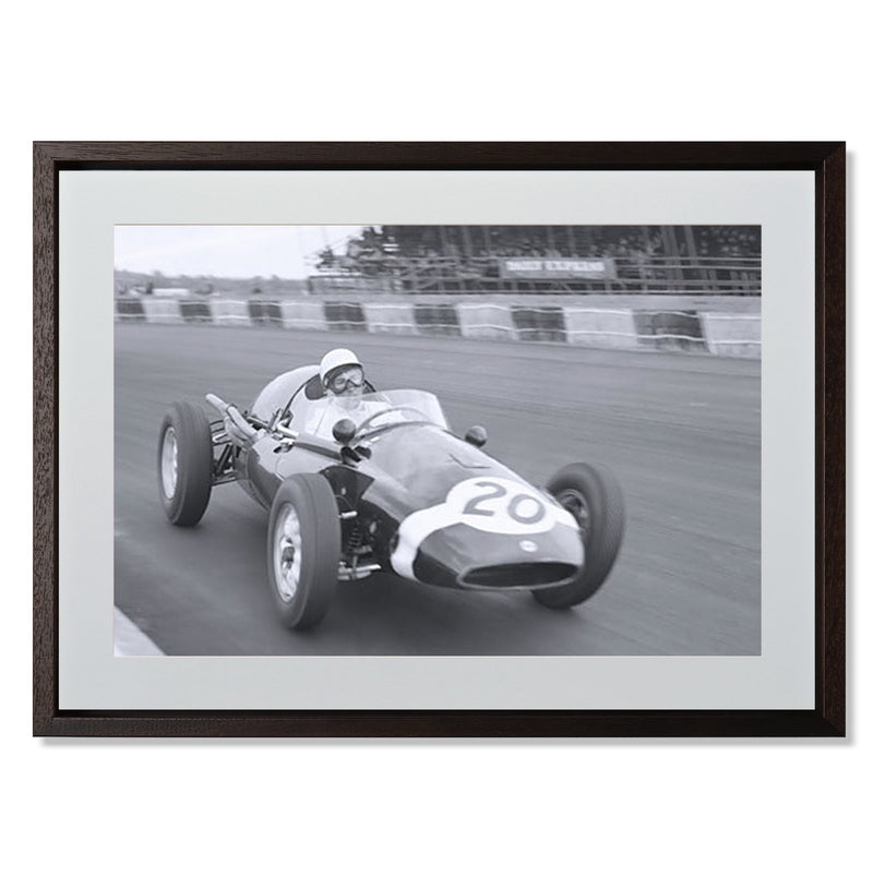 "Stirling Moss cornering Silverstone Smith & Co Galleries 24"" x 18"" Modern Wood 5mm Luxe Floated - Strivezy"