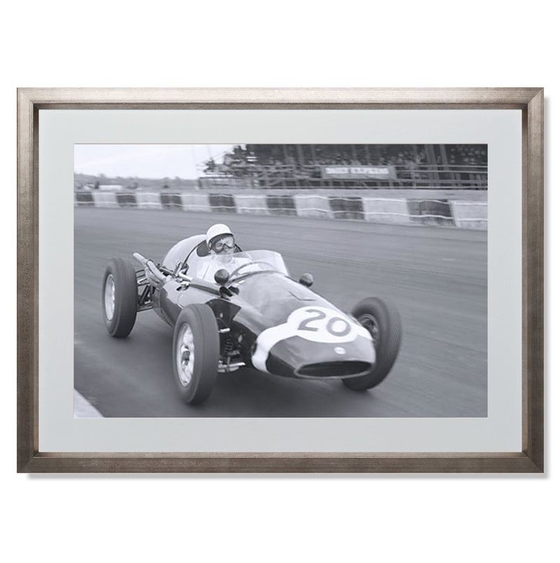"Stirling Moss cornering Silverstone Smith & Co Galleries 24"" x 18"" Warm Silver 5mm Luxe Floated - Strivezy"