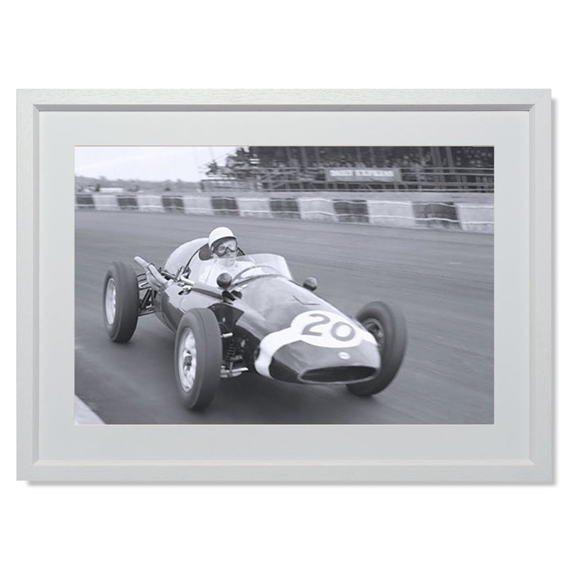 "Stirling Moss cornering Silverstone Smith & Co Galleries 24"" x 18"" White 5mm Luxe Floated - Strivezy"
