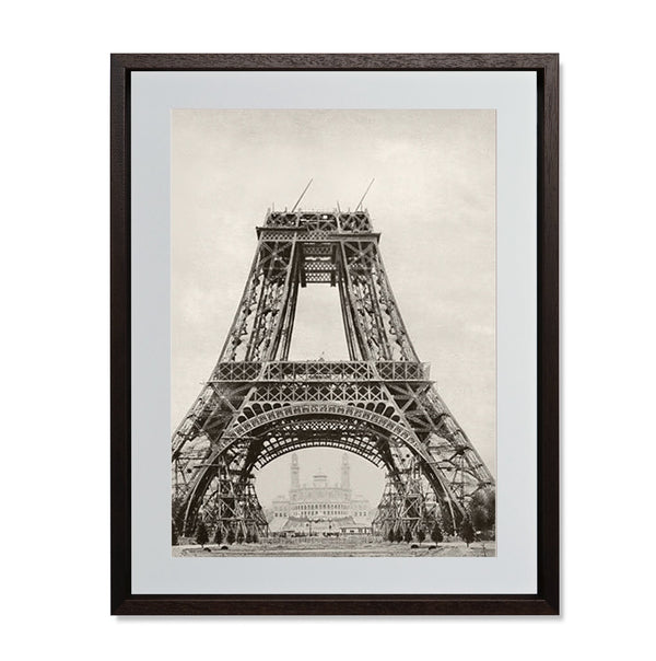 "The Eiffel Tower Under Construction Smith & Co Galleries 18"" x 24"" Modern Wood 5mm Luxe Floated - Strivezy"
