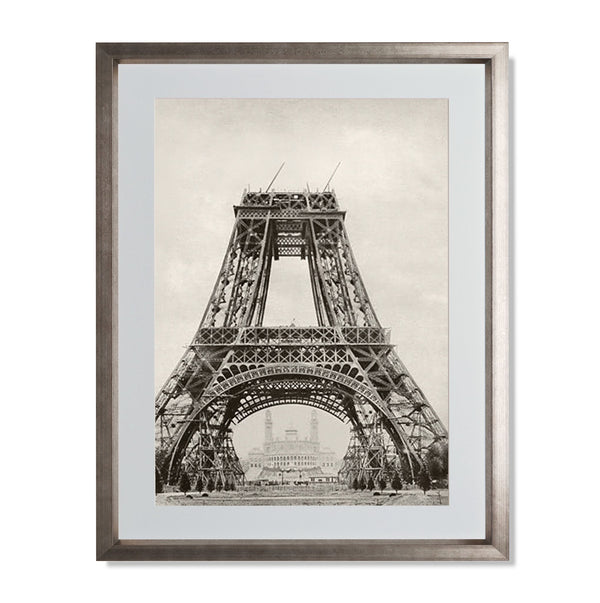 "The Eiffel Tower Under Construction Smith & Co Galleries 18"" x 24"" Warm Silver 5mm Luxe Floated - Strivezy"