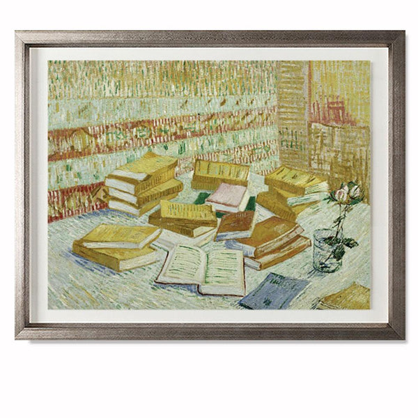 "The Parisian Novels (The Yellow Books), 1887 Smith & Co Galleries 28"" x 23"" Warm Silver 5mm Luxe Floated - Strivezy"