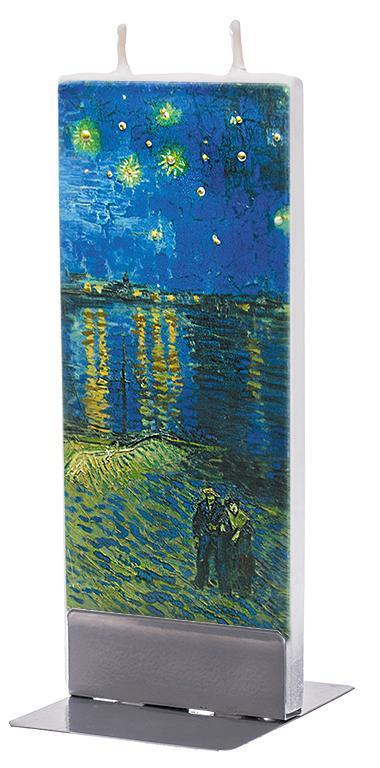 "Van Gogh ""Starry Night Over the Rhone"" Flat Candle Flat Candle Flatyz - Strivezy"
