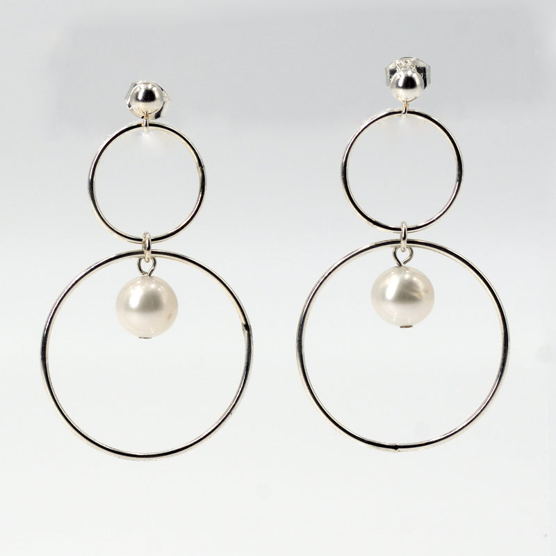 Vaughn Earrings in Sterling Silver with White Pearl Maria Kamara Designs - Strivezy