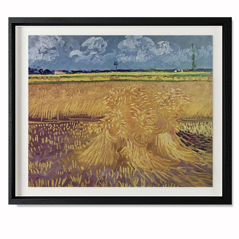 "Wheatfield With Sheaves, 1888 Smith & Co Galleries 28"" x 23"" Black 5mm Luxe Floated - Strivezy"