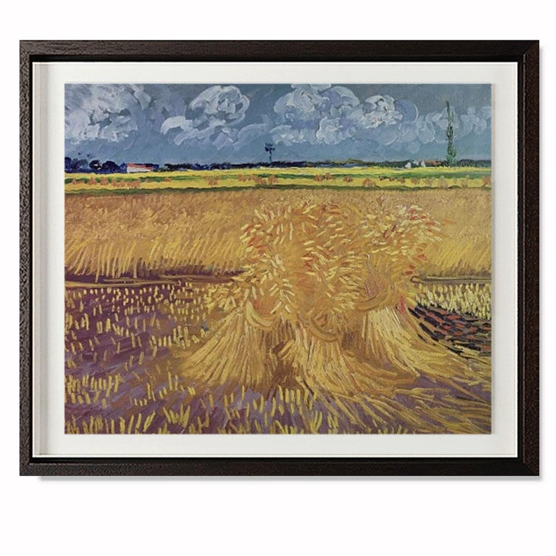 "Wheatfield With Sheaves, 1888 Smith & Co Galleries 28"" x 23"" Modern Wood 5mm Luxe Floated - Strivezy"