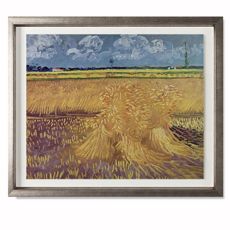 "Wheatfield With Sheaves, 1888 Smith & Co Galleries 28"" x 23"" Warm Silver 5mm Luxe Floated - Strivezy"