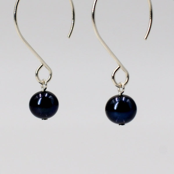 Zoe Earrings in Sterling Silver with Black Pearl Maria Kamara Designs - Strivezy
