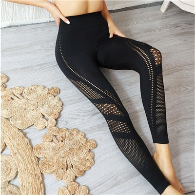 SVOKOR Women's Seamless Knitted Leggings Hip-warping Porous Moisture Absorption And Sweating  Sports Fitness Legging Sexy Set