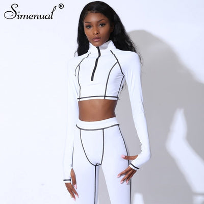 Simenual Fitness Casual Active Wear 2 Piece Set Women Sporty Workout Zipper Tracksuits Long Sleeve Top And Leggings Sets Fashion