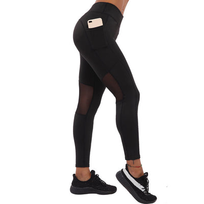 NORMOV Workout Women Leggings Solid High Waist Elastic Push Up Mesh Patchwork With Pocket Polyester Fitness Leggings Female