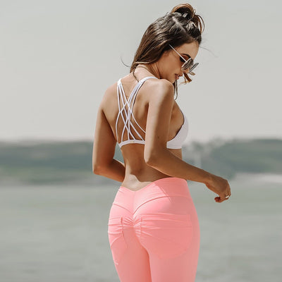 NORMOV Push Up Leggings For Women Mid Waist Workout Fitness Sexy Leggins Candy Colors Pockets Jeggings Fashion Women Pants