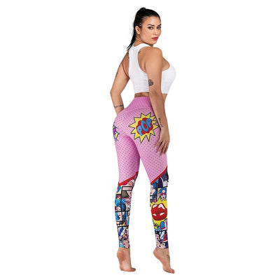 SVOKOR Women Leggings Fashion High Waist Cartoon 3D Printing Fitness Leggings Autumn Polyester Casual Pants Women