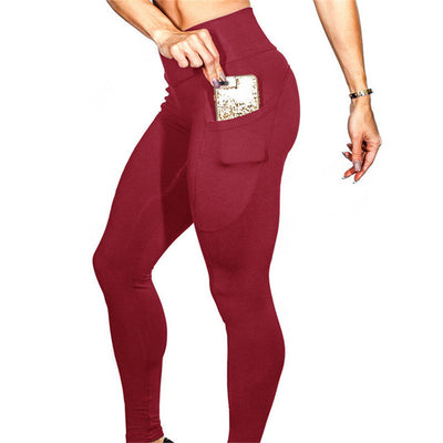 New Women Leggings Plus Size Solid Color High Waist Pocket Sports Legging Leisure Workout Stretch Pants Push Up Fitness Legings