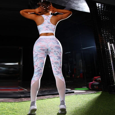 NORMOV Fitness Women Sets Print Mesh Patchwork Polyester Sets Vest And High Waist Push Up Leggings Two Piece of Sets Feminina