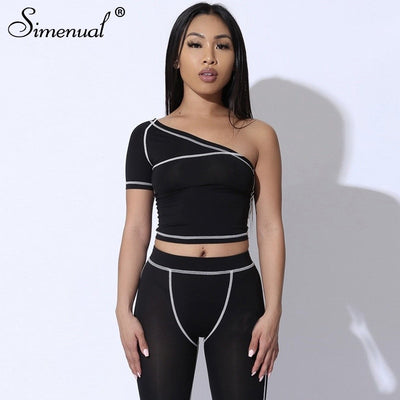 Simenual Sporty Fashion Active Wear Black Fitness Tracksuits One Shoulder 2 Piece Set Women Workout Crop Top And Leggings Sets
