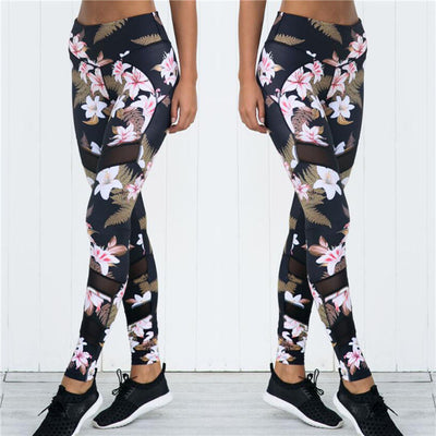 Women Fashion Flowers Print Sets Polyester Sexy Crop Short Clothing High Waist Workout Leggings Activewear Two-Piece Set Femme