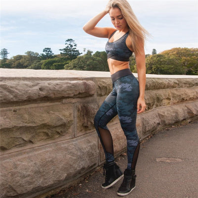 NORMOV Women's Suits 2018 New Fashion Camouflage Print Sleeveless Top Set Mesh Splicing Leggings Polyester Loose Fitness Set